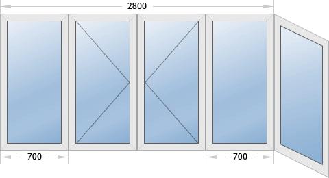 Остекление Г-образного балкона
