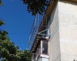 Металлический каркас балкона с расширением в Севастополе